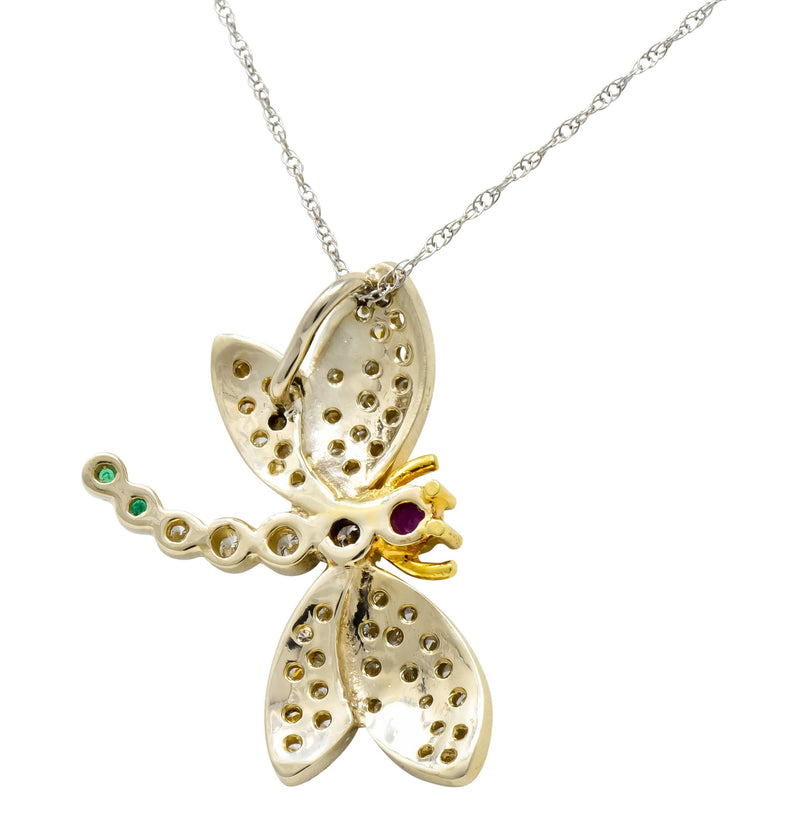 Contemporary 2.36 CTW Diamond Emerald Ruby 18 Karat Two-Tone Gold Dragonfly Pendant Necklace - Wilson's Estate Jewelry