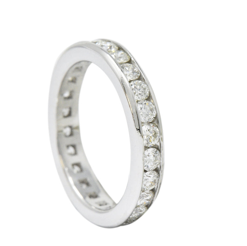 Contemporary 2.40 CTW Diamond Platinum Channel Eternity Band Ring - Wilson's Estate Jewelry