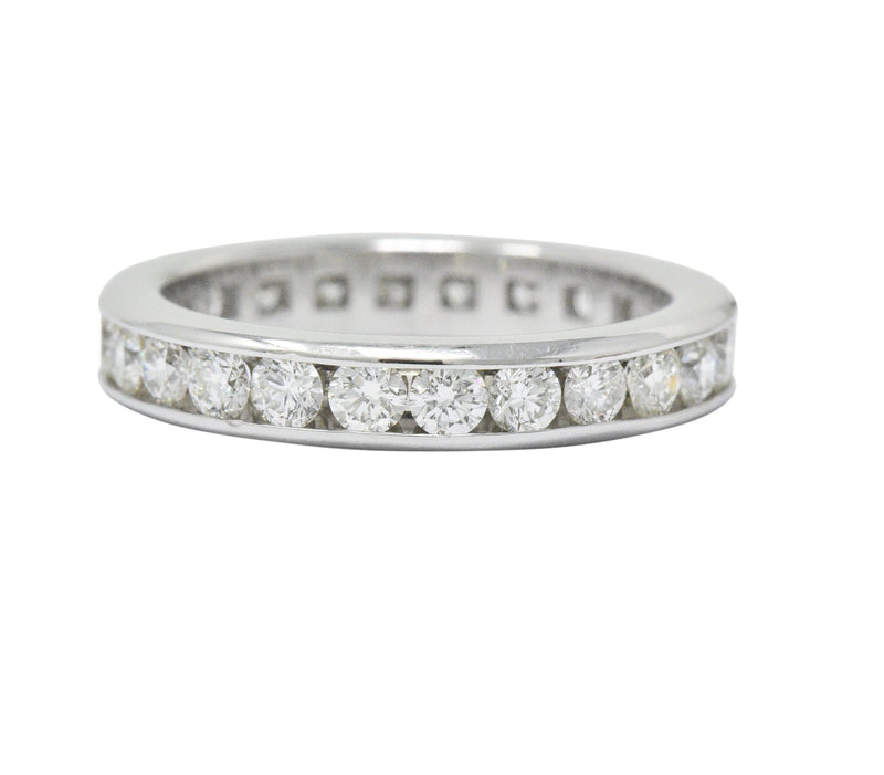 Contemporary 2.40 CTW Diamond Platinum Eternity Stackable Band Ring Ring Contemporary