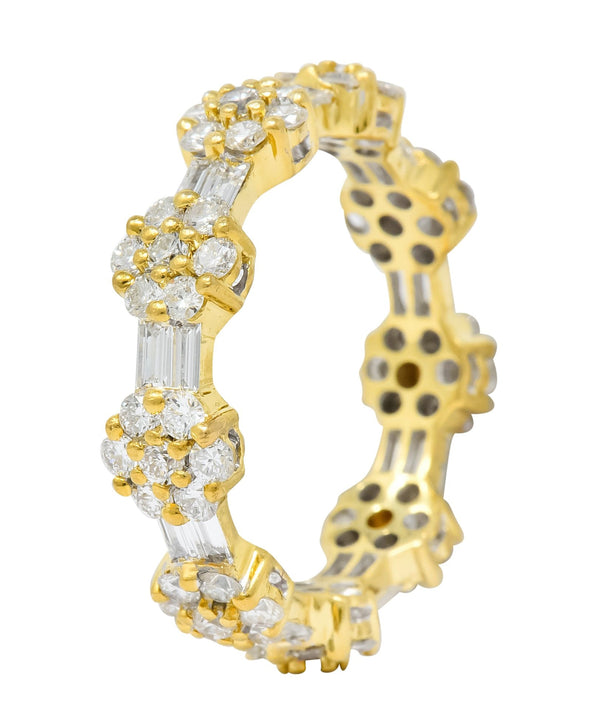 Contemporary 2.50 CTW Diamond 18 Karat Gold Cluster Eternity Band Ring Ring Baguette cluster Contemporary diamond Round brilliant