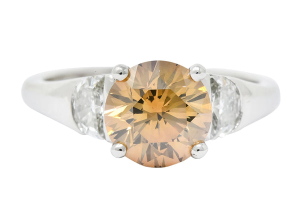 Contemporary 2.75 CTW Fancy Colored Diamond Platinum Engagement Ring GIA - Wilson's Estate Jewelry
