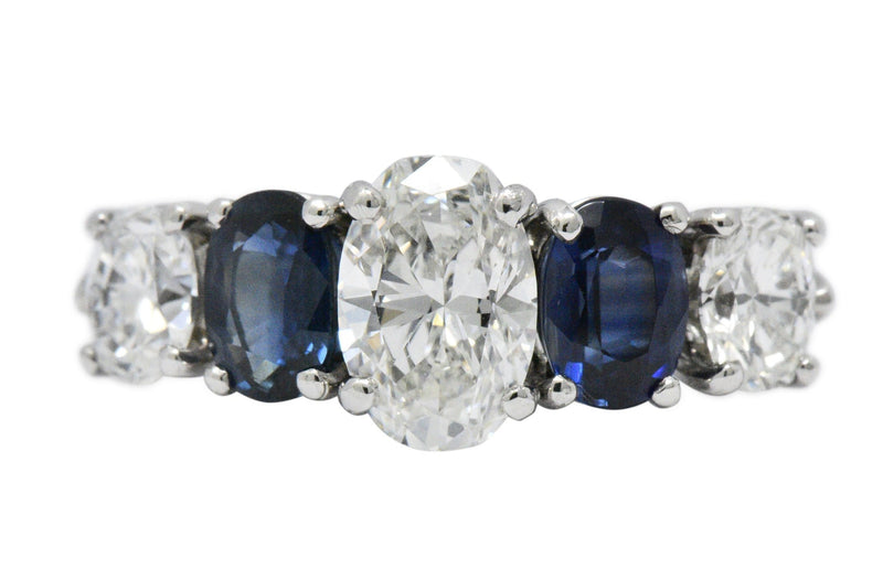Contemporary 2.90 CTW Diamond Sapphire And Platinum Ring GIA Ring