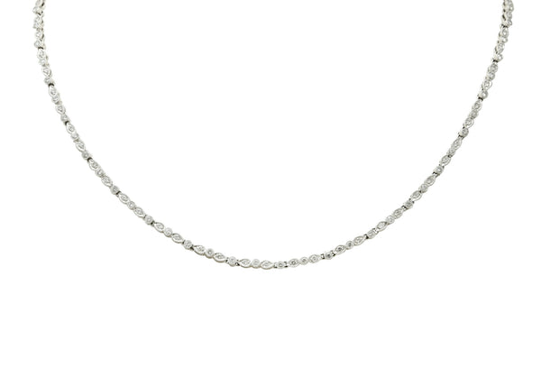 Contemporary 3.05 CTW Diamond Platinum Millegrain Necklace Necklace