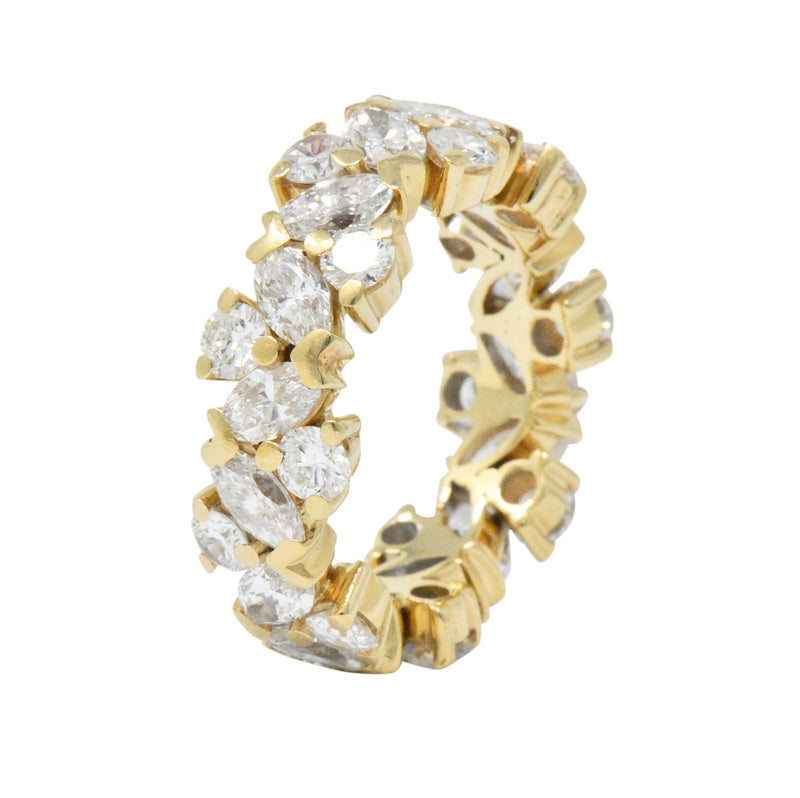 Contemporary 3.65 CTW Diamond 14 Karat Gold Eternity Band Ring Ring