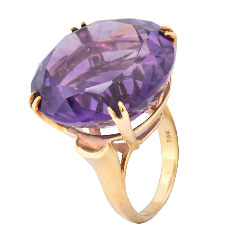 Contemporary 40.82 CTW Amethyst 14 Karat Gold Cocktail Ring Ring Amethyst Contemporary
