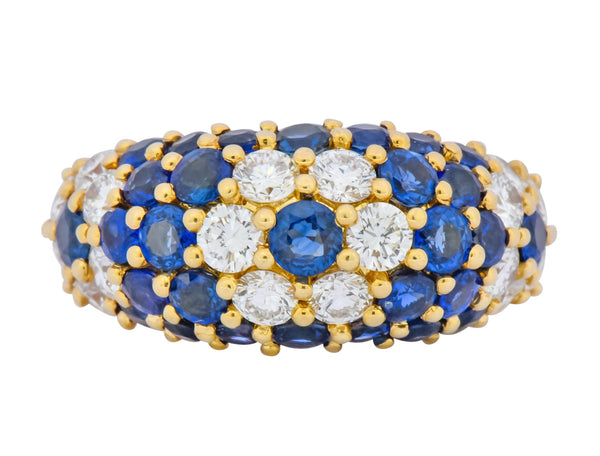 Contemporary 5.06 CTW Sapphire Diamond 18 Karat Gold Bombay Floral Band Ring Ring