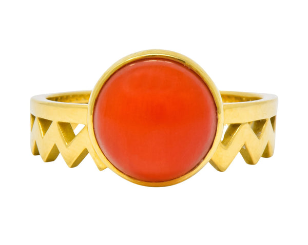 Contemporary Coral 18 Karat Gold Zig Zag Stacking Ring Ring