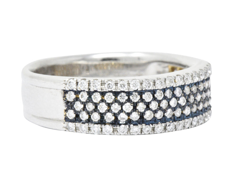 Contemporary 1.11 CTW Pave Diamond Platinum 18 Karat White Gold Blue Rhodium Band Ring - Wilson's Estate Jewelry
