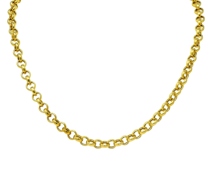 Contemporary Italian 14 Karat Gold Rolo Link Chain Necklace - Wilson's Estate Jewelry