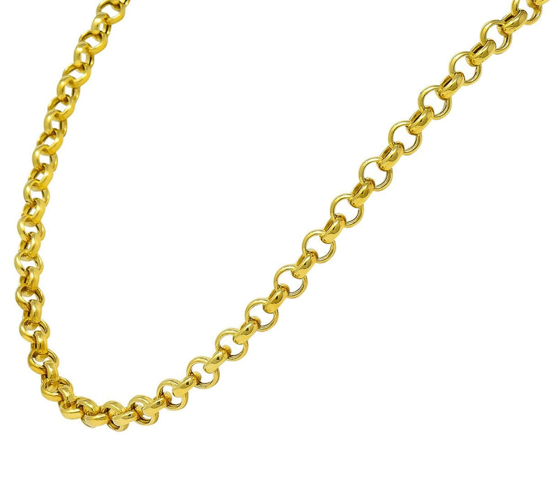Contemporary Italian 14 Karat Gold Rolo Link Chain Necklace Necklace