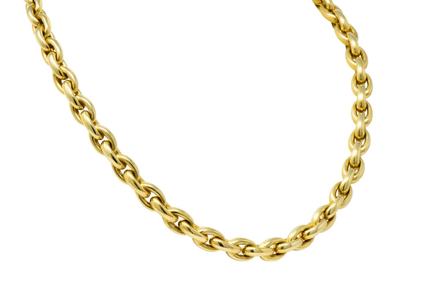 Contemporary Italian 14 Karat Yellow Gold Mariner Link Necklace Necklace