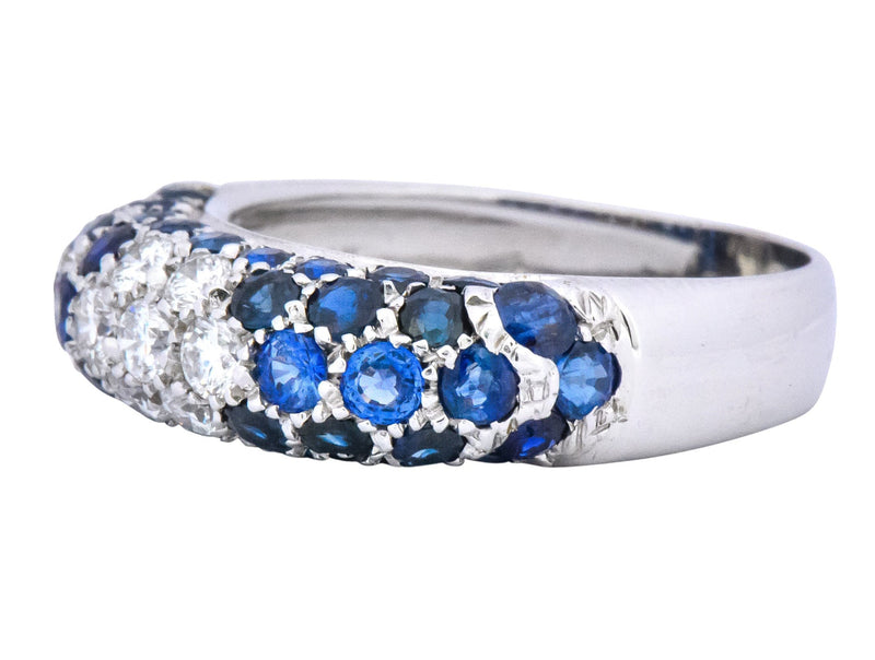 Contemporary Italian 3.85 CTW Diamond Sapphire 18 Karat White Gold Ring - Wilson's Estate Jewelry