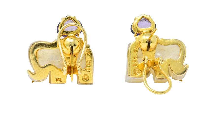 Contemporary Mother-Of-Pearl Amethyst Diamond 18 Karat Gold Elephant Earrings Earrings Contemporary out-of-stock