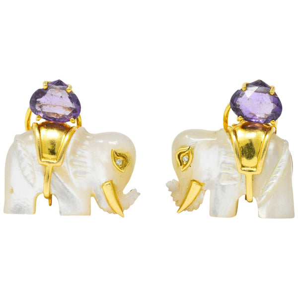 Contemporary Mother-Of-Pearl Amethyst Diamond 18 Karat Gold Elephant Earrings - Wilson's Estate Jewelry