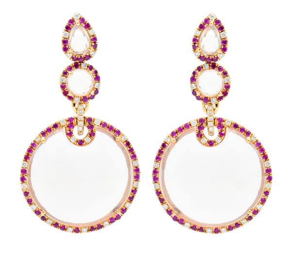 Contemporary Rose Quartz Ruby Diamond 18 Karat Rose Gold Drop Earrings - Wilson's Estate Jewelry