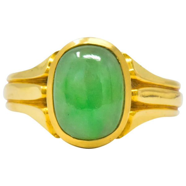 D & F Victorian Jadeite Jade 18 Karat Gold Unisex Ring GIA Ring out-of-stock Victorian