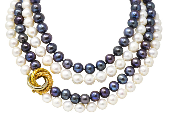 David Webb 1960s Vintage Tahitian South Sea Pearl 18 Karat Gold Tri-Gold Necklace Necklace