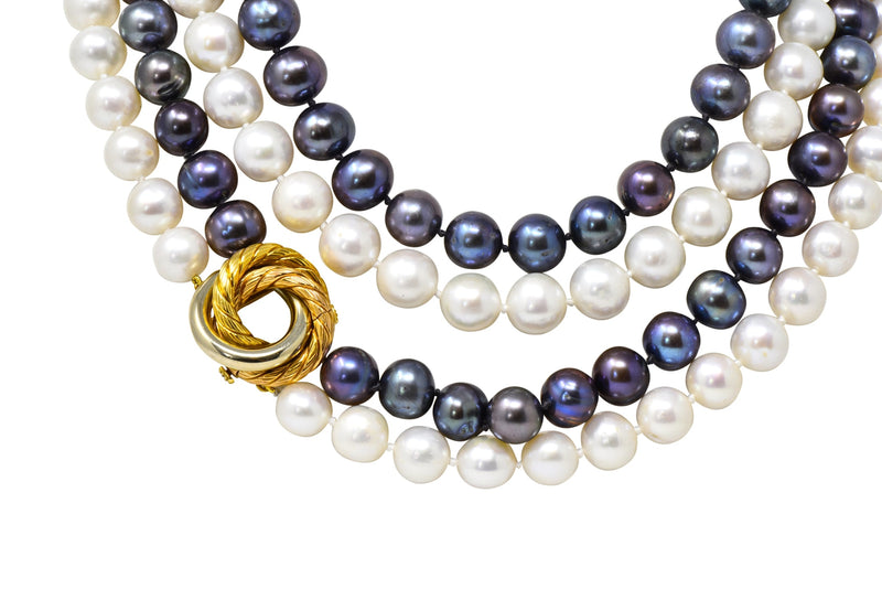 David Webb 1960's Vintage Tahitian South Sea Pearl 18 Karat Gold Tri-Gold Necklace - Wilson's Estate Jewelry