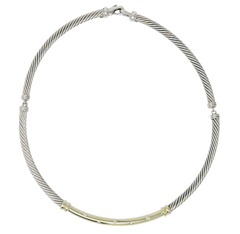 David Yurman 0.30 CTW Diamond Sterling Silver 14 Karat Gold Metro Cable Necklace - Wilson's Estate Jewelry