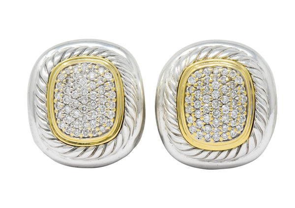 David Yurman 1.25 CTW Diamond Sterling Silver 18 Karat Gold Pave Earrings Earrings