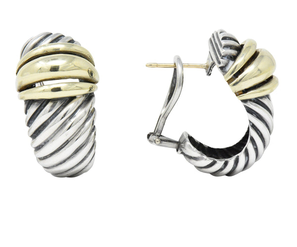 David Yurman 14 Karat Gold Sterling Silver Cable Twist Earrings Earrings
