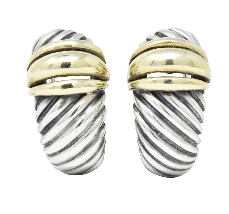 David Yurman 14 Karat Gold Sterling Silver Cable Twist Earrings - Wilson's Estate Jewelry