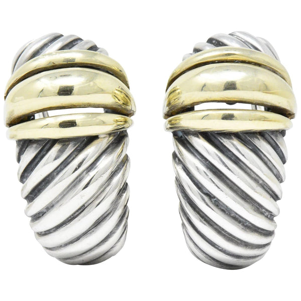 David Yurman 14 Karat Gold Sterling Silver Cable Twist Earrings Earrings out-of-stock signed