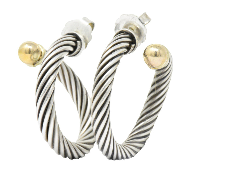 David Yurman 14 Karat Gold Sterling Silver Large Cable Twist Hoop Earrings Earrings signed