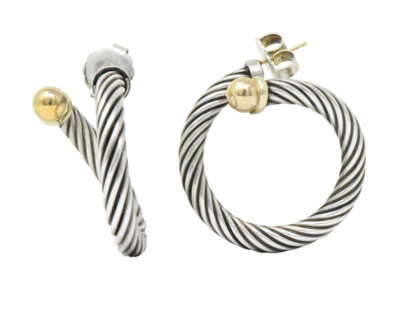 David Yurman 14 Karat Gold Sterling Silver Twisted Cable Torque Hoop Earrings - Wilson's Estate Jewelry