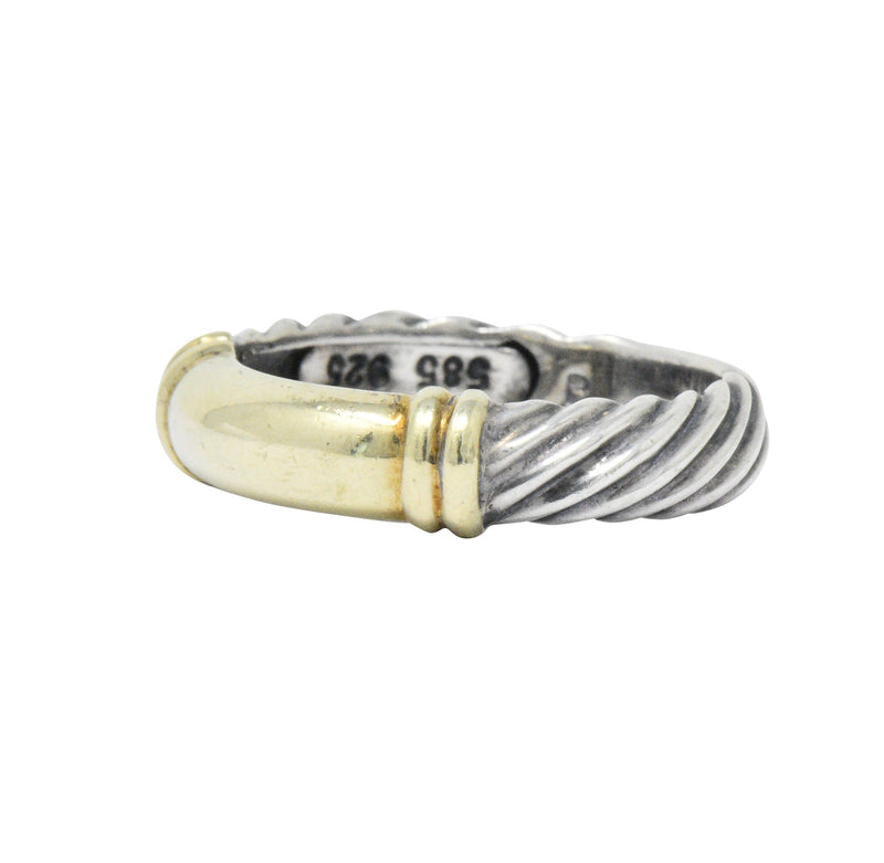 David Yurman 14 Karat Gold Sterling Silver Metro Cable Stack Band Ring - Wilson's Estate Jewelry