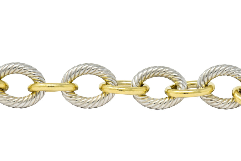 David Yurman 18 Karat Gold Extra Large Oval Sterling Silver Link Bracelet - Wilson's Estate Jewelry