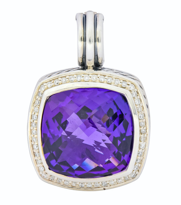 David Yurman Amethyst Diamond Sterling Silver Albion Enhancer Pendant Necklace
