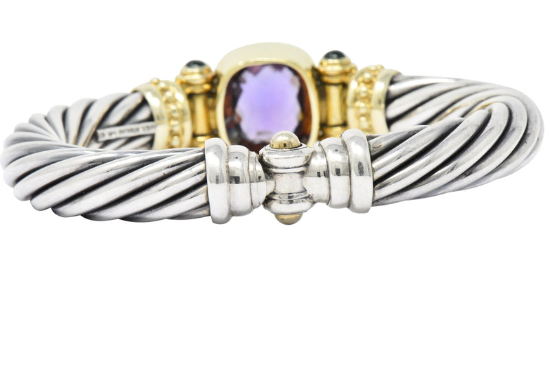 David Yurman Amethyst Green Onyx Sterling Silver 14 Karat Gold Cable Bracelet bracelet Amethyst David Yurman signed