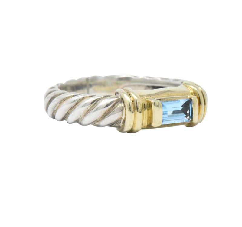 David Yurman Blue Topaz 14 Karat Gold Sterling Silver Metro Ring - Wilson's Estate Jewelry