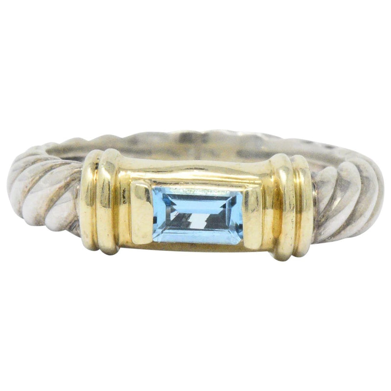 David Yurman Blue Topaz 14 Karat Gold Sterling Silver Metro Ring Ring