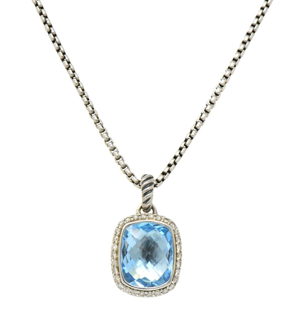 David Yurman Blue Topaz Diamond Albion Sterling Silver Pendant Necklace Necklace