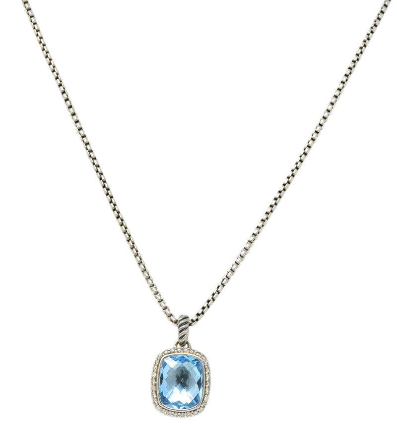 David Yurman Blue Topaz Diamond Albion Sterling Silver Pendant Necklace Necklace out-of-stock
