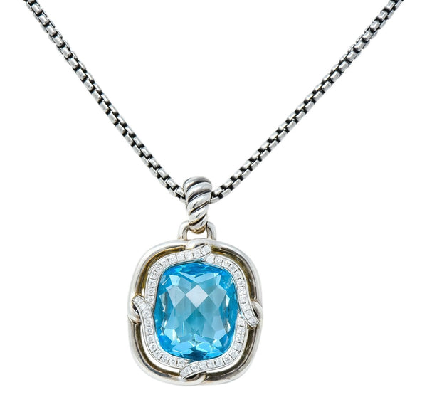 David Yurman Blue Topaz Diamond Sterling Silver 14 Karat Gold Labyrinth Enhancer Necklace Necklace