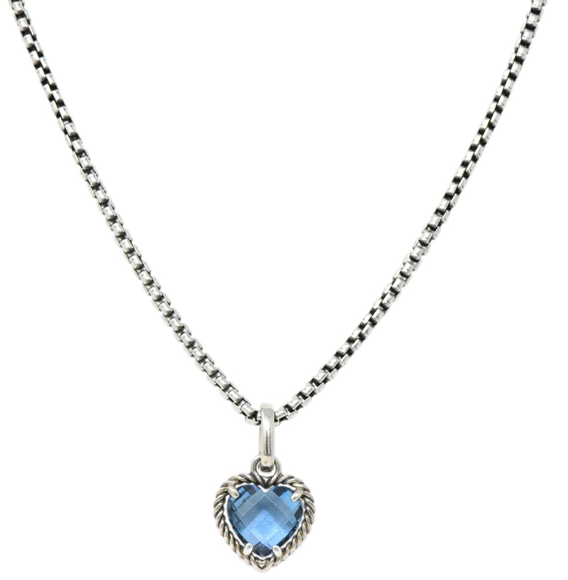 David Yurman Blue Topaz Heart Sterling Silver Pendant Necklace Necklace