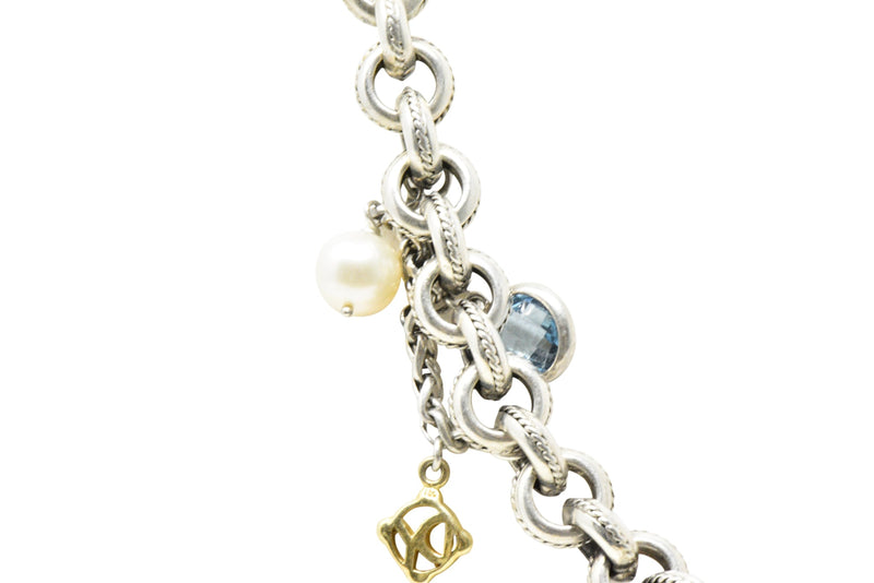 David Yurman Blue Topaz Pearl Turquoise 18 Karat Yellow Gold Sterling Silver Necklace Necklace