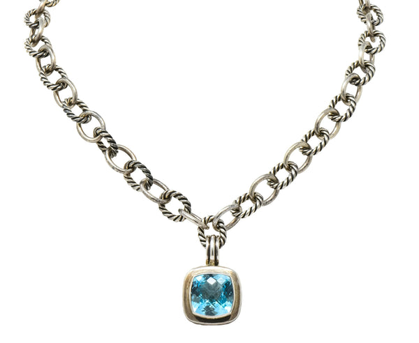 David Yurman Blue Topaz Sterling Silver Albion Enhancer Linked Necklace Necklace