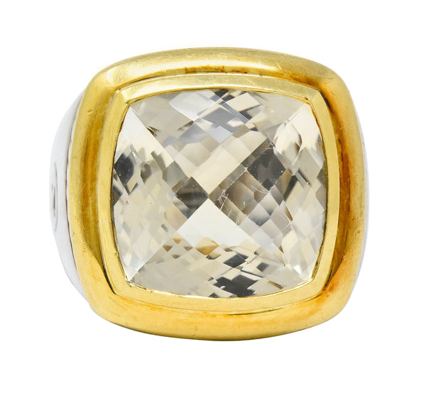 David Yurman Checkerboard Quartz 18 Karat Gold Sterling Silver Albion Cocktail Ring - Wilson's Estate Jewelry