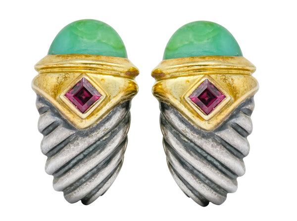David Yurman Chrysoprase Garnet 14 Karat Gold Sterling Silver Renaissance Earrings - Wilson's Estate Jewelry
