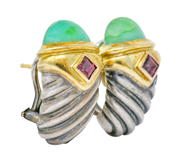 David Yurman Chrysoprase Garnet 14 Karat Gold Sterling Silver Renaissance Earrings Earrings