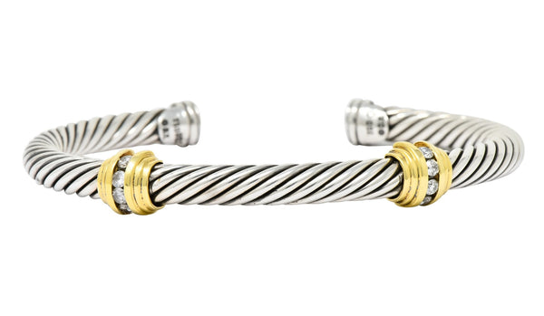 David Yurman Diamond 18 Karat Gold Sterling Silver Cable Twist Bracelet bracelet