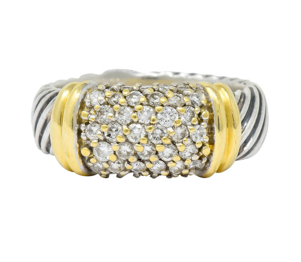David Yurman Diamond 18 Karat Gold Sterling Silver Metro Ring Ring