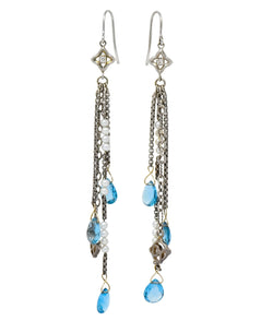 David Yurman Diamond Blue Topaz Pearl Sterling Silver Confetti Earrings Earrings signed