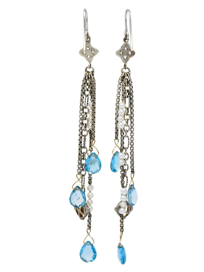 David Yurman Blue Topaz Diamond Pearl Sterling Silver Confetti Tassel Earrings - Wilson's Estate Jewelry