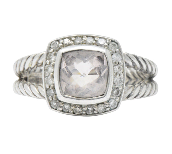 David Yurman Diamond Morganite Sterling Silver Albion Ring - Wilson's Estate Jewelry