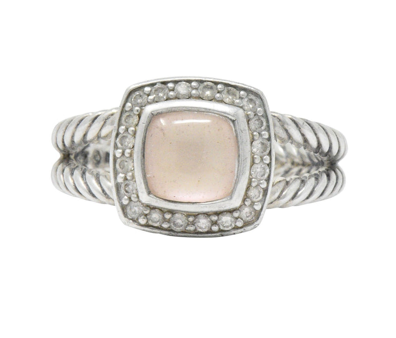 David Yurman Diamond Pink Mother of Pearl Sterling Silver Albion Ring - Wilson's Estate Jewelry